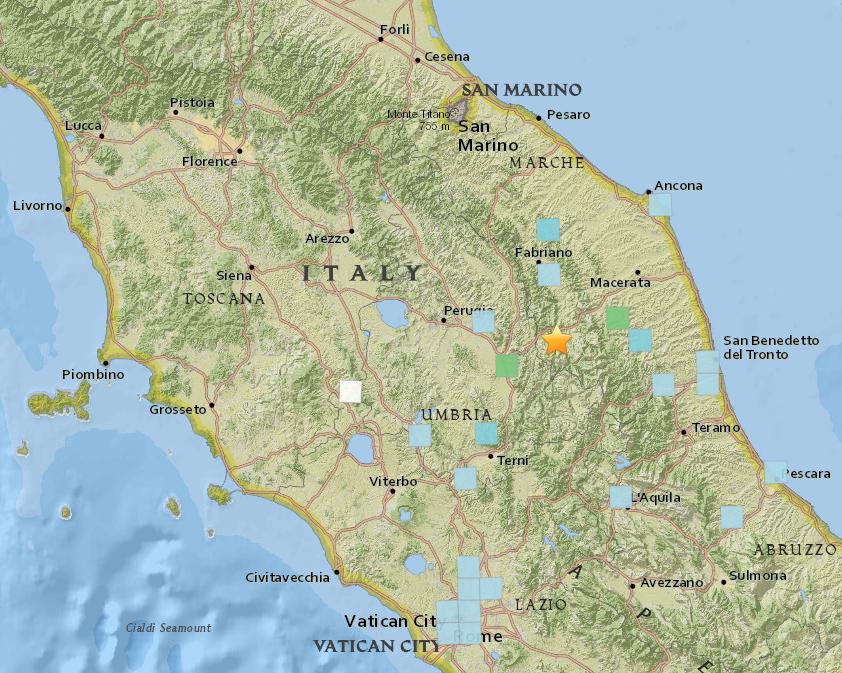 Kuvakaappaus USGS:n interaktiivisesta kartasta.